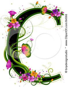 Black Capital Letter C Outlined In Green, With Colorful Flowers And Butterflies Posters, Art Prints
