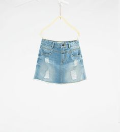 Image 1 of Ripped denim skirt from Zara
