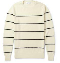 Exemplaire Striped Cashmere-Piqué Sweater   MR PORTER