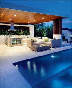 Backyard Pool Landscaping, Backyard Pool Designs, Swimming Pool Designs, Backyard Bbq, Patio Grill, Outdoor Rooms, Indoor Outdoor, Outdoor Living, Indoor Pools