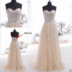 HOT STOCK Champagne Prom Dresses Long Evening Party Formal Dresses Size 6-16