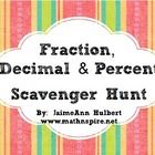A 16-card scavenger hunt that reviews changing fractions, decimals and percents to equivalent fractions decimals and percents. Included is the 16-c...