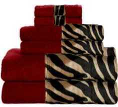 **CUTE TOWEL SET....THESE WOULD MATCH MY BATH DECOR PERFECTLY!!**  Image detail for -everything animal print / Mocha Zebra & Cranberry Bordering Africa ...