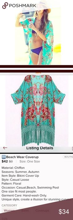 FAB Beach CoverUp NWOT I bought this from a boutique seller in Posh, but just not my style.  Would love for someone to enjoy it!!! I'd say it'd fit small-medium best. Swim Coverups