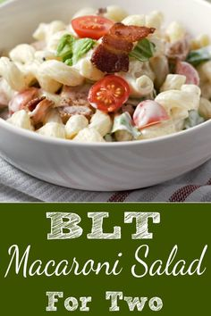 In this easy and tasty BLT Macaroni Salad bacon, lettuce and tomato are mixed with a creamy delicious dressing. This small batch recipe is a great side dish and serves two or three people. You can use any pasta shape you prefer and this gorgeous cavatappi Blt Macaroni Salad, Blt Pasta Salads, Pasta Salad Recipes, Macaroni And Tomatoes, Blt Salad, Fruit Salad, Mug Recipes, Side Dish Recipes, Cooking Recipes