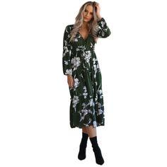 62c3e6e3ad Womens Boho Long Vintage Dress Ladies V Neck Casual Floral Print Dresses  Elegant Beach Party Loose Dress 2018 Fashion Vestidos