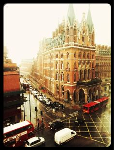 Classic Victorian Gothic architecture..St Pancreas Station,London