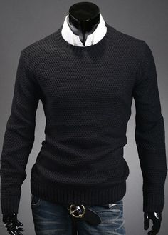 Solid Round Neck Knitting Wool Men Sweaters – teeteecee - fashion in style Sweater Hoodie, Men Sweater, Knitting Wool, Solid Black, Turtle Neck, Hoodies, Sweaters, Shopping, Style
