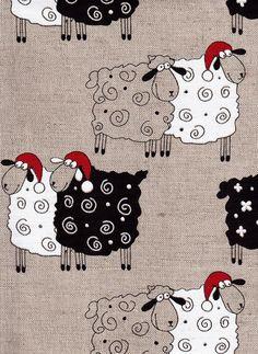 Items similar to Christmas Sheep--Canvas Linen Printed Fabric--Christmas Stocking Ideas--All DIY Projects on Etsy Christmas Sheep--Canvas Linen Printed Fabric--Christmas Stocking Ideas--All DIY Projects by LinenGifts on Etsy<br> Sheep Illustration, Sheep Paintings, Sheep Crafts, Sheep Art, Motifs Animal, Sheep And Lamb, Chicken Art, Etsy Christmas, Christmas Items