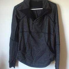 Lulu lemon heathered grey pullover Super flattering half zip. No tears stains or pilling, only worn a few times. Hidden zipper in back. Price is firm. lululemon athletica Jackets & Coats