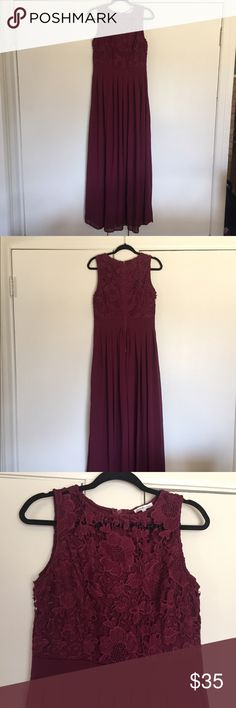 Formal Maroon Dress Charolette Russe Fomal Maroon Dress Could be used for: Bridesmaid Dress Prom Dress Mother of the Bride Dress Formal Dress Floral Lace Neckline Floor Length Gown Worn Once for a Wedding Charlotte Russe Dresses Prom