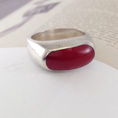 Mexican silver jewelry is always unique - check out this beautiful red coral with Sterling ring! A personal favorite from my Etsy shop https://www.etsy.com/listing/262810142/vintage-red-coral-ring-mexican-sterling