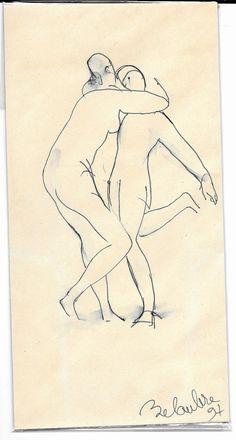 Envelope 1, original vintage drawing made by an artist in the Parisian bookshop Mona Lisait, unique gift item