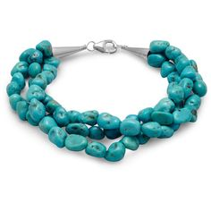 """7.5"""" triple strand reconstituted turquoise nugget bracelet ($65) ❤ liked on Polyvore featuring jewelry, bracelets, turquoise jewelry, blue turquoise jewelry, green turquoise jewelry, turquoise jewellery and turquoise bangle"""