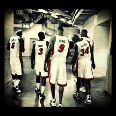 Lebron James, Dwyane Wade, Rashard Lewis, Ray Allen and Chris Bosh Miami Heat Basketball, Nba Miami Heat, Basketball Tricks, Basketball Legends, Basketball Players, Nba Heat, Basketball Quotes, Jordan Basketball, Nba Eastern Conference Teams