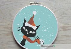 cross stitch pattern christmas cat modern cross par Happinesst