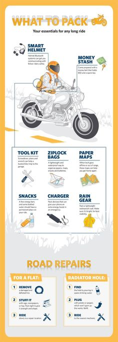 Get ready for a summer #motorcycle road trip with these essentials.: