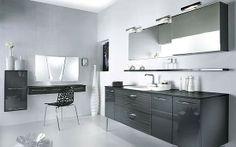 ensemble 3 meubles bas latéraux sous-vasque, plan et armoire de toilette et miroir de Delpha Influences d'Aujourd'hui