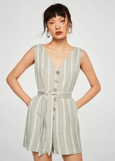 213fd15d80 Mango Bow Linen Jumpsuit - Off White Xxs