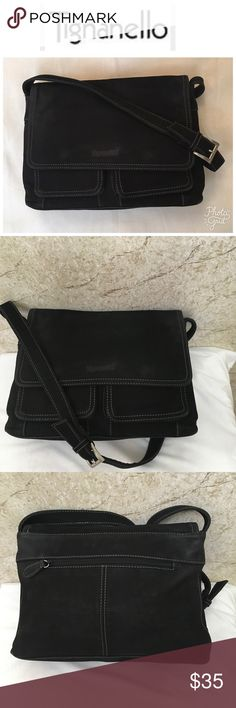 Tignanello black leather suede crossbody bag Gorgeous black suede bag has lots of room zipper in the back two front pockets and two different compartments inside with wall zipper and adjustable strap Bags Crossbody Bags