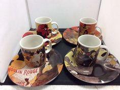 Vintage poster art set of 4 assorted 12 oz. Mugs and set of 4 plates  | eBay