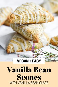 These Vanilla Bean Scones with Vanilla Bean Glaze are FULL of warm vanilla flavor and are done from start to finish in under 40 minutes! These dairy-free scones make a great addition to your vegan breakfast or brunch table. #vegan #veganbrunch #dairyfree #veganbaking #vanillabean #scones #veganscones #eggfree #plantbased #veganbreakfast Delicious Breakfast Recipes, Vegan Dessert Recipes, Delicious Vegan Recipes, Dairy Free Recipes, Brunch Recipes, Easy Recipes, Snack Recipes, Tasty, Clean Breakfast