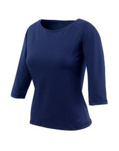 Champion Stretch-Cotton 3/4-Sleeve Boat-Neck Women's T Shirt