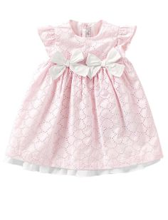 Embroidered pink baby dress with bows from Il Gufo
