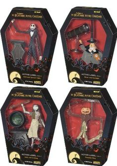 Tim Burton Nightmare Before Christmas Active Label: Series 1 Case Of 8 by JUN Planning. $79.99. 2x Pumpkin King with Torch and Sign Accessory. 2x Sally with Cooking Pot Accessory. 2x Mayor with Spotlight Accessory. 2x Jack with Speech Table Accessory. *All packaged in spooky Coffin Shaped Boxes,Great for display!**. Tim Burton's the Nightmare Before Christmas Active Label Figures Series 1 Case of 8