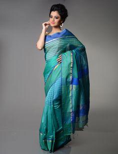 Mandakini Sea Green Sea Blue Maheshwari Silk Cotton Saree