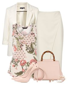 """Blush Floral Tile Vest Top"" by barbarapoole ❤ liked on Polyvore featuring Acne Studios, WithChic, Dorothy Perkins, Gucci, Casadei, Red Camel and Tory Burch"