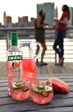 Try this easy and delicious spicy watermelon jalepeno cocktail at your end of the summer party. Or serve it up as a punch for everybody at your BBQ or backyard get together.  Just mix 1.5oz Smirnoff Watermelon, 3oz Pink Lemonade, Add A Splash of Lime Juice, and some jalapeno Slices for garnish.