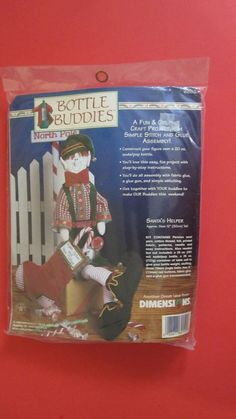 "Dimensions Bottle Buddies Santa's Helper Christmas Felt Craft Kit 12"" #62159 NIP #Dimensions"