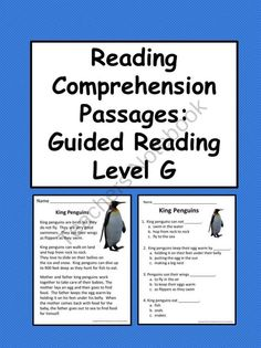 Reading Comprehension Passages for Students Reading at Guided Reading Level G