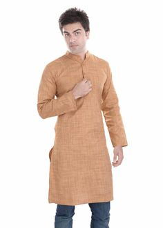 Kalrav Fashion Beige Art Silk Kurta