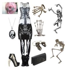 Skeleton dance by skirtthenorm on Polyvore featuring Dsquared2, Bernard Delettrez, momocreatura, Bling Jewelry, Iron Fist and skeleton