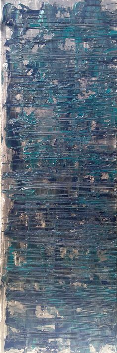 Bleu turquoise 1 acrylique sur toile  30 x 80 x 1,5 cm