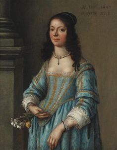 View Young lady in blue dress by Gonzales Coques on artnet. Browse upcoming and past auction lots by Gonzales Coques. 17th Century Fashion, 17th Century Art, Baroque Fashion, Vintage Fashion, Historical Clothing, Female Clothing, Fashion Painting, Flower Fashion, Art Auction