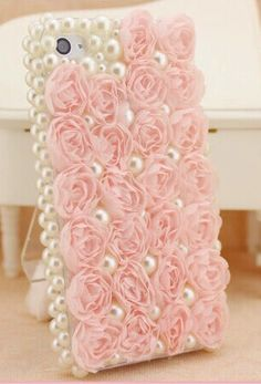 lace rose flowers pearl case