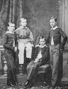 Grand Duke Alexei Alexandrovich (the boy with the light color pants) with three of his brothers (from left to right: Alexander, Alexei, Vladimir and Tsarevich Nicholas)-The Grand Duke Alexei Alexandrovich Romanov of Russia was born in Saint Petersburg on 14 January 1850