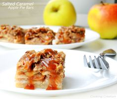 let the baking season commence! These salted caramel apple pie bars are to. Fun Desserts, Dessert Recipes, Salted Caramel Apple Pie, Apple Pie Bars, Cookie Bars, Cookie Recipes, Macaroni And Cheese, Nom Nom, Sweet Treats