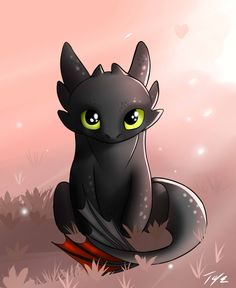 Little chibi Toothless. Cute Toothless, Toothless And Stitch, Toothless Dragon, Toothless Tattoo, Cute Disney Drawings, Cute Animal Drawings, Drawing Disney, How To Train Dragon, Cute Dragons