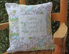 A wee pillow for a wee chair - machine embroidered and Baby Lock Sashiko machine quilted and embellished