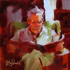 Light Reading by Donna MacDonald Oil ~ 6 x 6 Painting People, Artist Painting, Saatchi Art, Reading, Pictures, Image, Oil Paintings, Men, Books To Read