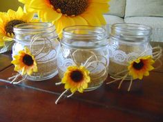 """Rustic Wedding Burlap Jars, Lace and Burlap Jars, Burlap Centerpiece,Rustic Wedding Centerpiece,Sunflower Wedding Jars, Wedding Candles Jars Listing is for a set of 6 burlap mini cndle holder jars! These are perfect or your rustic sunflower wedding! These rustic jars are hand decorated with burlap, lace and sunflower! Each jar has the following dimensions: 6.5cm x 10cm ~ 2.55"""" x 4"""" Please check my policies for info on delivery times. Comes with GIFT- scented tea candles!"""