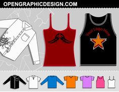 Free Download »   http://www.t-shirt-template.com/vector-t-shirt-template-collection/   This set includes long-sleeve button / collar dress shirt, short-sleeve polo shirt, long-sleve shirt / sweatshirt, short sleeve v-neck t-shirt, crew neck t-shirt, woman's tshirt / blouse, athletic sports / basketball jersey / BBD, spaghetti strap woman's tang top.   T-shirt Vector & PSD templates you can use them to preview how your illustration or apparel design would look garm