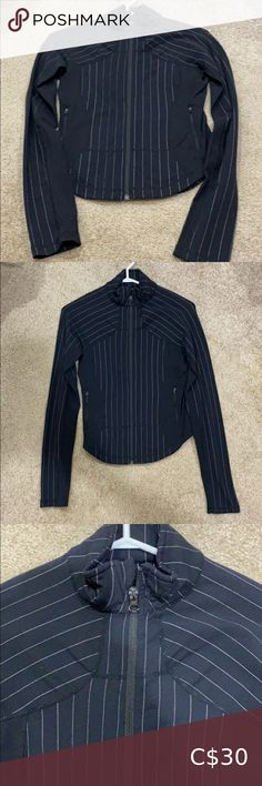 Lululemon Pinstripe Define Jacket/Sweater I believe it is a size 4, fits quite small! Well worn but well looked after, does not have the pull elastic on the zipper anymore. lululemon athletica Sweaters Poncho Sweater, Zip Up Sweater, Green Sweater, Lululemon Scuba Hoodie, Grey Zip Ups, Grey Boots, Gray Jacket, Lululemon Athletica