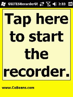 GSITESRecorderGSM©  This program is a ultra compact GSM WAV (1.2Kb/Sec) format voice recorder that uploads the voice recording to your Google.com sites attachment folder in real time. Simply tap the button to start the recorder and when you tap the button to stop the recorder the program will upload the audio file to your Google.com sites account. NOTE: You need to install and run the PocketPC GSITESToken(c) before using this program.  http://www.cebeans.com/gsitesrecordergsmp.htm