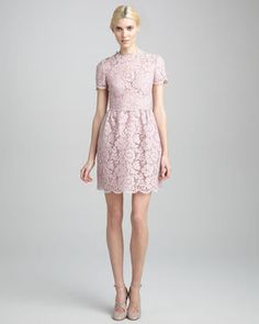 Valentino Short-Sleeve Floral Lace Dress, Rosa | More here: http://mylusciouslife.com/valentino-resort-2014-collection/