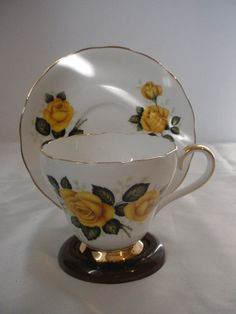 Royal Adderley England Bone China Yellow Roses Floral Cup & Saucer Set #RidwayRoyalAdderley